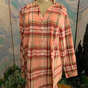 Woman Within Pink Plaid Pintuck Flannel Top Woman